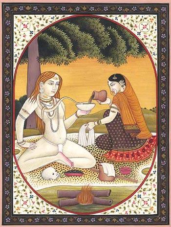 Parvati ofreciendo bhang a Shiva