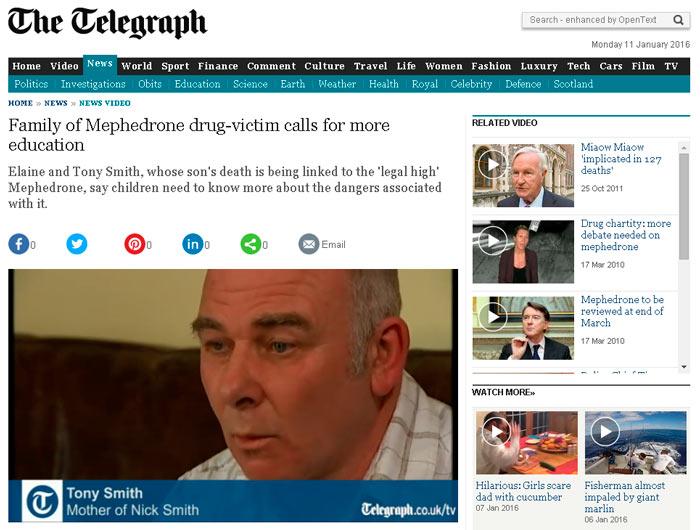 Vídeo de la familia de la víctima de mefedrona pide más educación. Telegraph