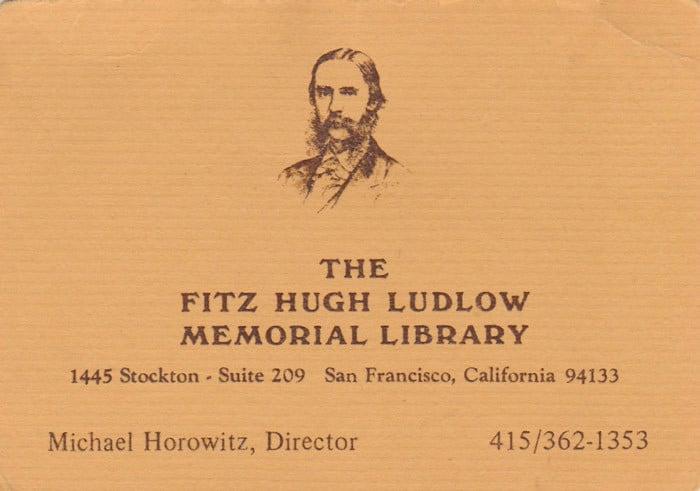 Tarjeta de visita del director de la biblioteca dedicada al autor en San Francisco California