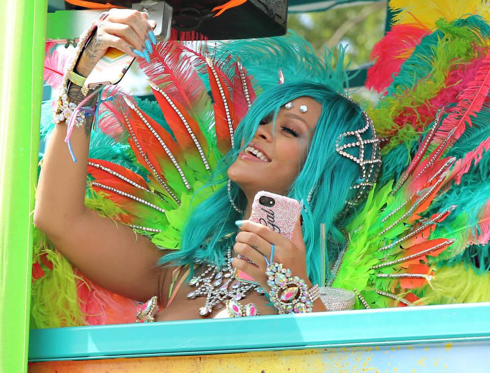 Rihanna en los carnavales de Barbados.