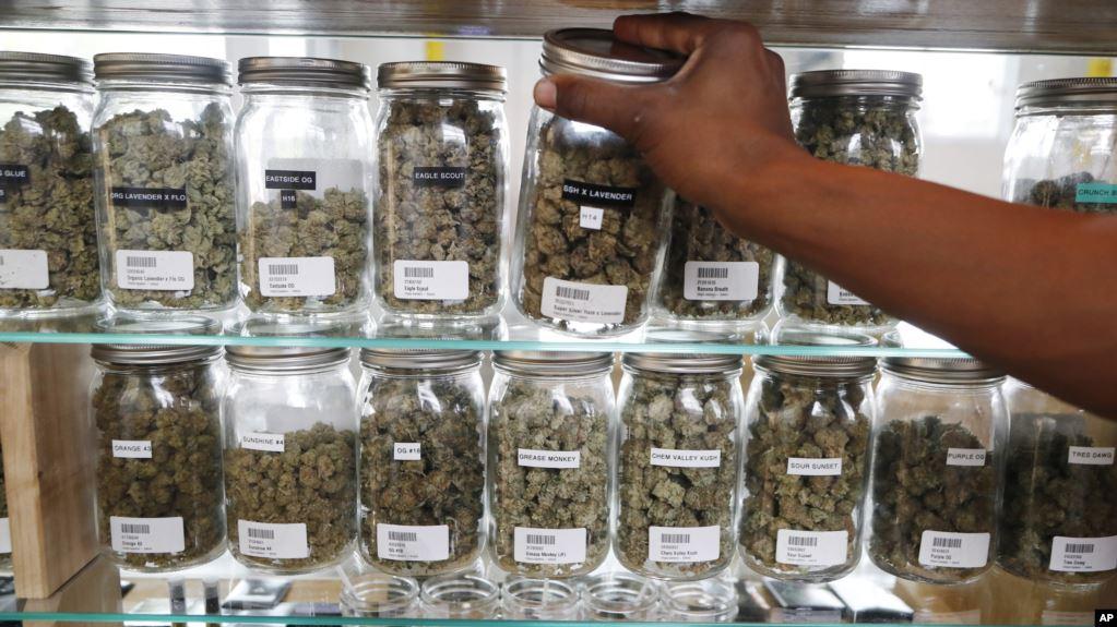 Un farmaceuta alcanza un frasco de cannabis para un paciente recetado en Utopia Gardens, un dispensario de marihuana medicinal en Detroit, Michigan.