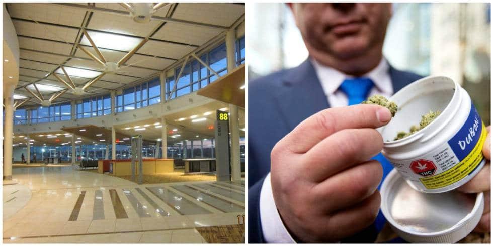 A la izquierda, instalaciones del aeropuerto de Edmonton. A la derecha, un hombre, en la tienda Quebec Cannabis Society de Montreal.