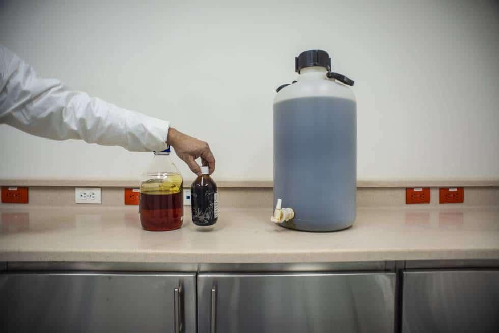 En los laboratorios se extraen los derivados de la planta, como el aceite de cannabis.