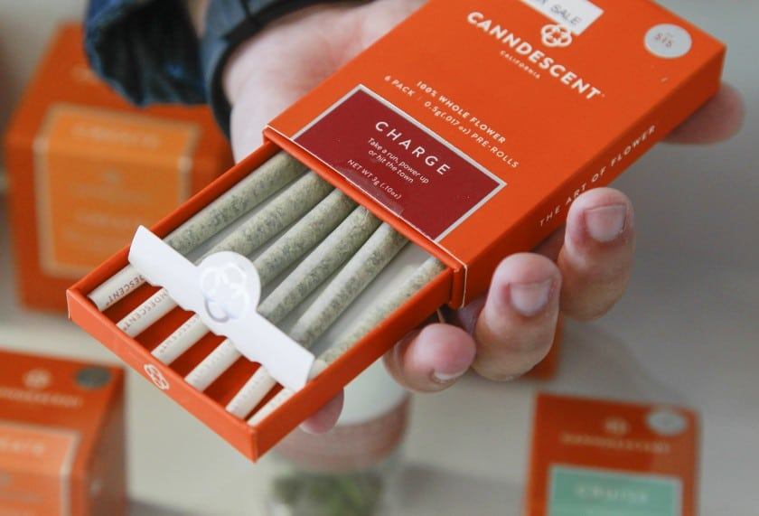 Pre-rolled joints for sale at a California dispensary