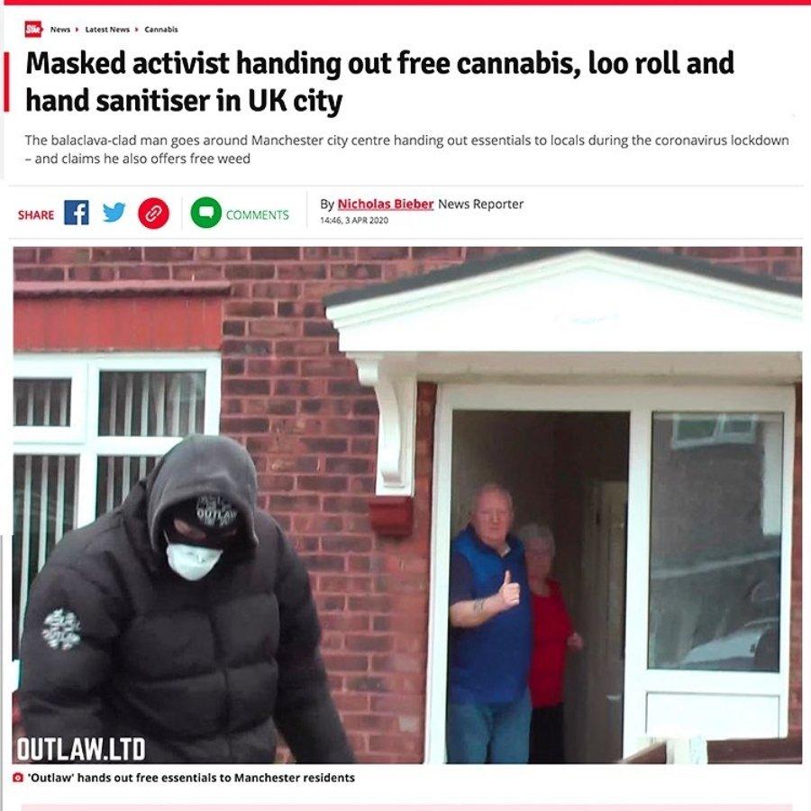 Héroe anónimo reparte cannabis y papel