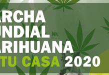 Cartel de la manifestación virtual por la legalización total de la marihuana y el cánnabis.