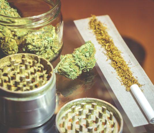 Marijuana joint weed and grinder