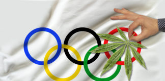 image of green cannabis leaf on beautiful Olympic flag, concept of medical cannabis, doping test concept, medical examination