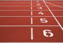 Starting line on a track